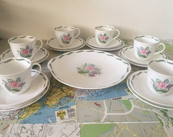 Vintage Susie Cooper Fragrance Tea Set for 6 including Cake Plate Very Pretty Flower Design