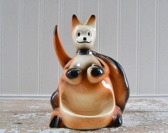 Vintage Boxing Kangaroo Caddy - Ceramic Mid Century Catch All