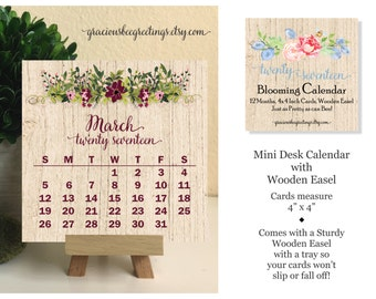 2017 Calendar with Stand | Easel Desk 2017 Calendar | Blooming Flowers | Sale Item