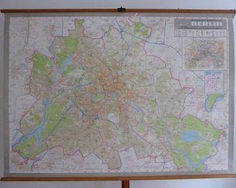 Original Vintage Berlin City Map - Large Berlin School Map c. 1960 - Large Vintage Berlin Poster
