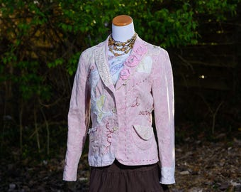 Altered Clothing, Refashioned Upcycled Clothing, Boho Clothing, Bohemian Jacket for Women, Altered Couture, Gypsy Clothing, Size Large
