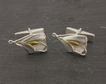 Fly Fishing Cufflings in 18ct Gold on Sterling Silver.
