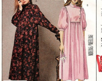 """A Buttoned Yoke, Standing Collar, Gathered Front & Back, Short/Long Sleeve Dress Pattern for Women: Uncut-Size 10 Bust 32.5"""" • McCall's 3309"""