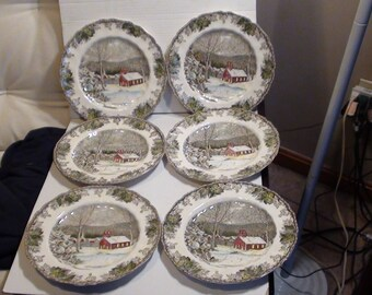 """Vintage Set Of Six Johnson Bros """"The Friendly Village/The School House""""Dinner Plates Hand Engraved Made In England"""