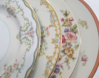 Vintage Mismatched China Salad Plates for Tea Party, Bridal Luncheons, Showers, Hostess Gift, Bridesmaid Gift - Set of 4