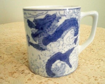 Dragon Coffee Cup, Blue and White cup with handle, Dragon Motif Mug,4 inch Dancing dragon coffee mug