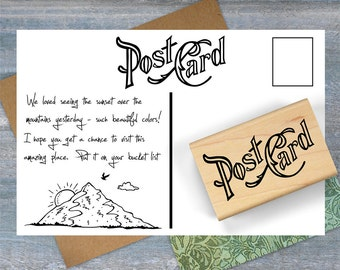 Vintage Postcard Stamp, Travel Stamp, Postcard Rubber Stamp, Mail Art Stamp, Postcrossing, Mail Exchange Stamp, Travel Journal 029