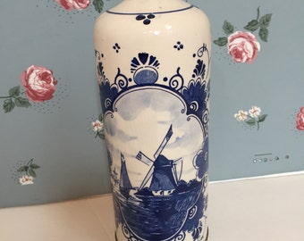 Handpainted Delft Blue and White Decanter Thermos with Pewter Bottom