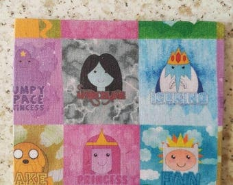 4 inch square Adventure Time inspired coaster