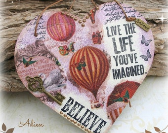 Hanging Heart Decoration, Live Life, Inspirational Gift