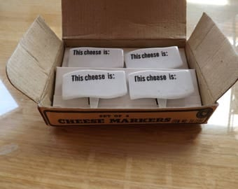 Set of Four Porcelain Cheese Markers in Box