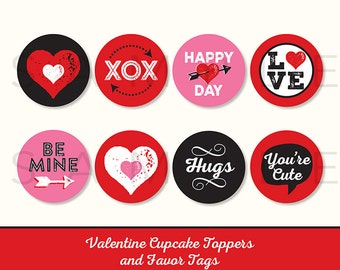 Valentine's Day Cupcake Toppers, 8 Designs, Favor Tags, PRINTABLE, 2 Inch