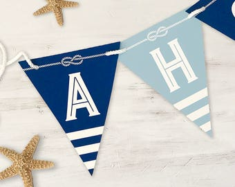 Birthday Banner, Nautical, Happy Birthday, Ahoy, Printable, 5.75 x 7 banner pieces, Nautical 17