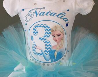 Frozen Elsa custom birthday girl shirt