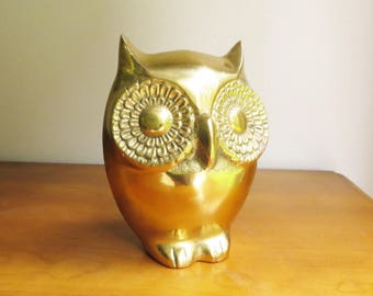 Vintage Large Brass Owl Figurine, Gold Owl Statue, Heavy Brass Owl, Brass Bird