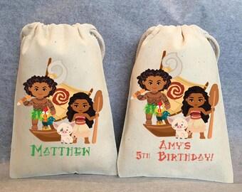 """35- Moana birthday, Moana party, Moana party supplies, Moana, Maui, Moana party supplies, Moana party favor bags bags, 5""""x8"""""""