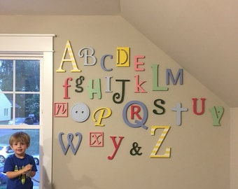 Alphabet - Wooden Letters for Nursery, ABC Sign, Alphabet Letters Set, Baby Nursery Decor Letters for Wall Painted Alphabet Set Wall Hanging