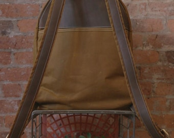 Backpack, Waxed Canvas Backpack, Day Pack, Leather straps, Canvas Bag, Bags, Customized Bag,