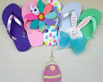 Beautiful Easter Flip Flop Row Wreath Bunny Beach Door Decor