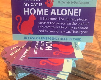 2 Pk. CAT HOME ALONE Heavy Weight Cardstock Pets Cat Alert Emergency I.D. Identification ice Contact Card w/Optional Sealable Plastic Pouch