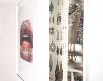 Pre - Order (May 10th) White Wall Mounted Jewelry Organizer Mirror Frame (NOT Picture Frame)