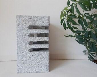 Vintage Modern Granite Carving Sculpture Rectangular Minimalist Stone Garden Lantern