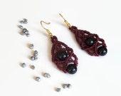 Burgundy macrame earrings with black agate, fashion jewelry dangle earrings with semiprecious gemstones, handmade gypsy earrings