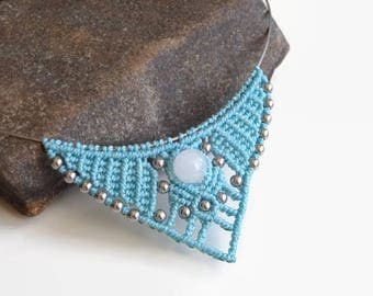 Babyblue statement necklace with semiprecious gemstones, micro macrame necklace with white jade and hematite, Boho fashion jewelry for her