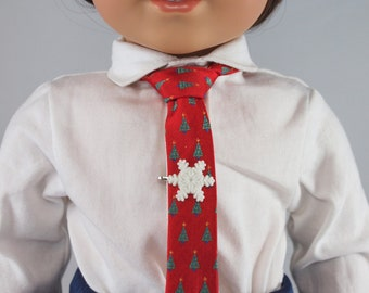 """Christmas Tree Necktie - 18"""" dolls. Pre-tied festive holiday neck tie w/ snap closure. Boy doll dress clothes accessories."""