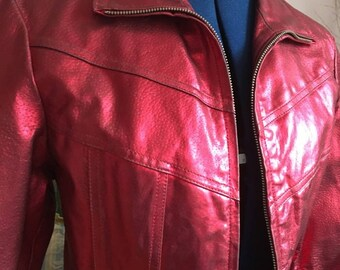 Metallic Red Leather Jacket Vintage 1990s Cyber Punk Lipstick Red 90s Motorcycle Jacket
