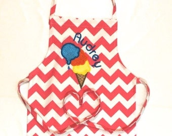 Personalized Apron - Child's Apron - Art Apron - Cooking Apron - Ice cream Embroidery Letter - Embroidery Apron