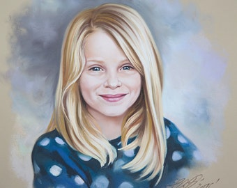 Pastel portrait of a girl in a blue dress, Head and shoulders portrait.