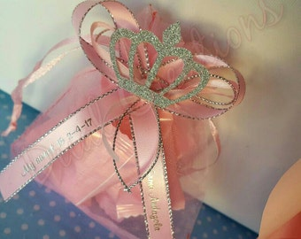 12 pcs organza pouch with personalized ribbon
