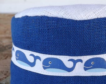Jonah and the Whale 100% Linen Boys Migba'ah Turban Cap with Matching Ribbon Trim