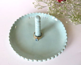 Godmother Gift, Large scalloped ring dish, Oval wedding ring holder, Ring Cone, Pastel teal glaze, Godmother Gift, Gift Boxed, IN STOCK