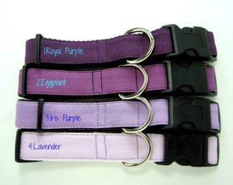 Purple Dog Collar- Purple Dog Collar,Lavender Dog Collar  (Mini,X-Small,Small,Medium ,Large or X-Large Size)- Adjustable