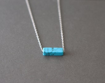 Turquoise necklace // Rectangular turquoise necklace - Silver