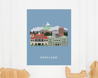 Portland City Print, Portland Wall Art, Portland Skyline Print, Portland Home Decor, Oregon Wall Art, Gift For Him, INSTANT DOWNLOAD