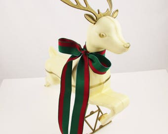 Large, Ivory Jumping Deer - Burnished Gold Antlers and Straps - Hollow Plastic on Triangular Brace - Jumping and Leaping Reindeer - Holidays
