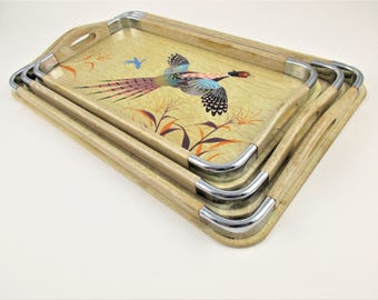 Three Wood Trays - Nesting Trays in Wood With Handles - Hand-painted Pheasants in Center  - Retro - Cafes and Bistros - Round Metal Corners