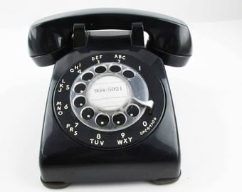 1960s Vintage 'Bell System' Heavy Duty Model 500 - Black Rotary Phone - Made by Western Electric - Great Color - Black Neutral Color Phone