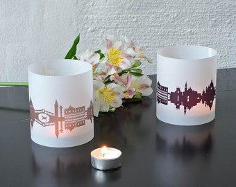VENICE Tablelight set of 2 lanterns, romantic candlelight in fume and plum, City Shade VENICE, for Venezia Lovers, Honeymoon in Venice