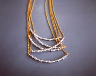 Gold & Silver Curved Bar Necklace - Thai Hill Tribe Silver Jewelry