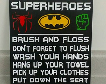 Attention all Superheroes bathroom rules, Bathroom Decor, Home Decor, Batman, Spiderman, Hulk, Superhero Decor