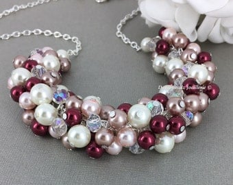 Wedding Necklace, Pearl Cluster Necklace, Burgundy Necklace, Pink and Burgundy Necklace, Bridesmaids Gift, Vintage Style Necklace, Jewlery
