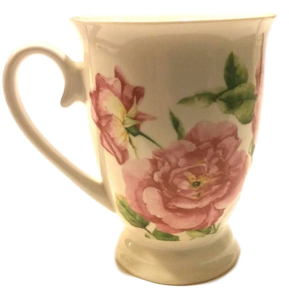 Cute Coffee Mug by Portmeirion Studio, Gift for Her, Bone China Footed Mug with Roses, Gift for Christmas