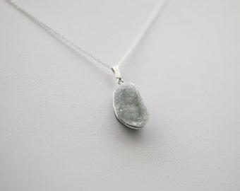 925 Sterling Silver Drusy Quartz Pendant/ Necklace Drusy Quartz
