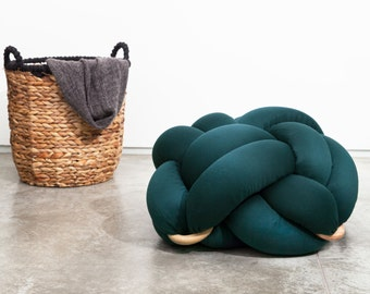 Medium knot Floor Cushions in dark green, Knot Floor Pillow pouf, Modern pouf, cushion, pouf ottoman, Meditation Pillow,