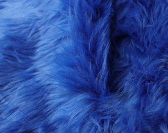 "Royal Blue 60"" Wide Shag Fur Fabric by the yard, Soft Fake Fur Fabric, Newborn Fur, Faux fur Coat, Vest, Throws,Pillows - 1 Yard Style 5002"
