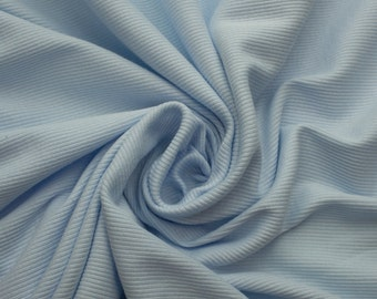 Light Sky Blue 57'' Medium-Weight Cotton 1x1 Rib Knit Fabric - Style 3149
